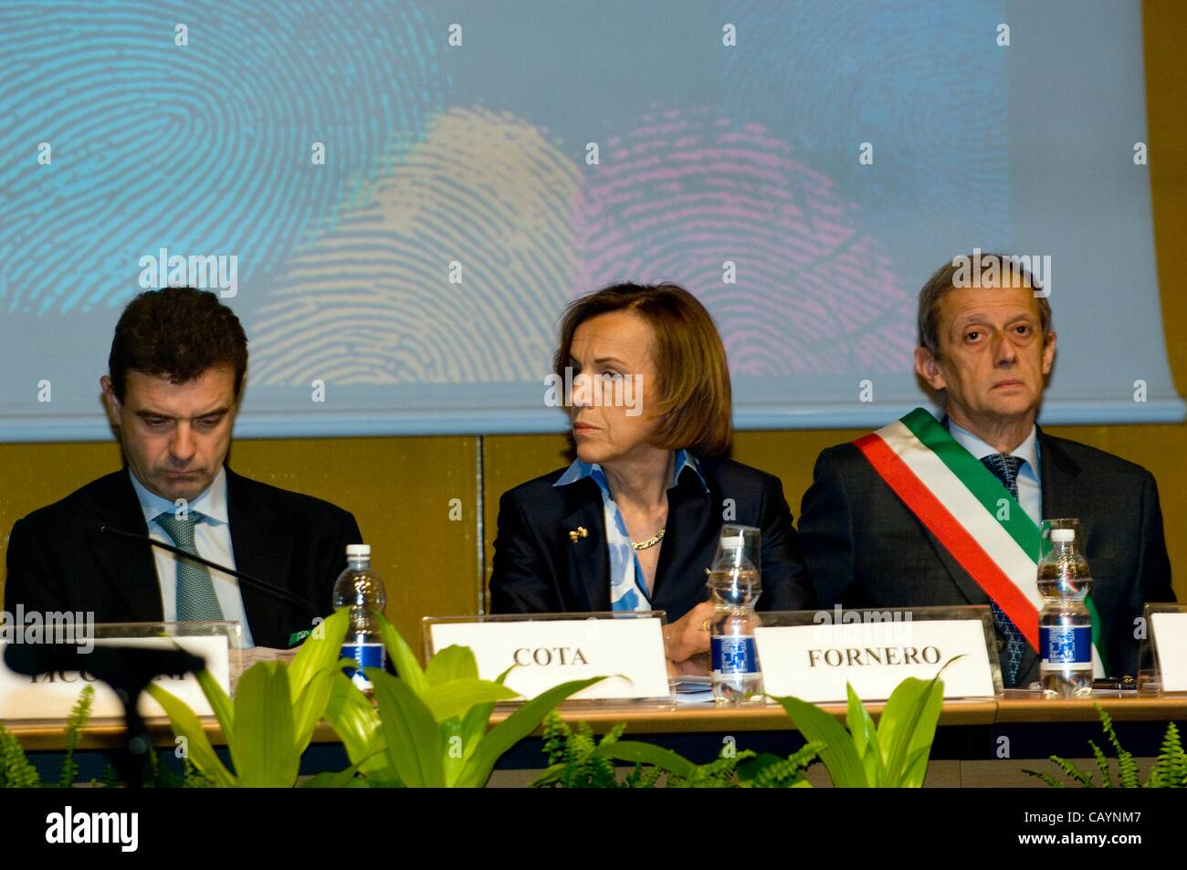 Italy Piedmont Turin 10 Maggio 2012 at 10 hours The President of the Piedmont region Cota (Left) The Minister of - Stock Image