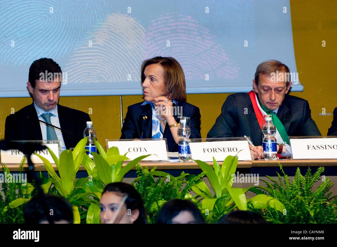 Italy Piedmont Turin  XXV International Book Fair of Turin in 2012 Thursday, May 10, 2012The President of the Piedmont - Stock Image