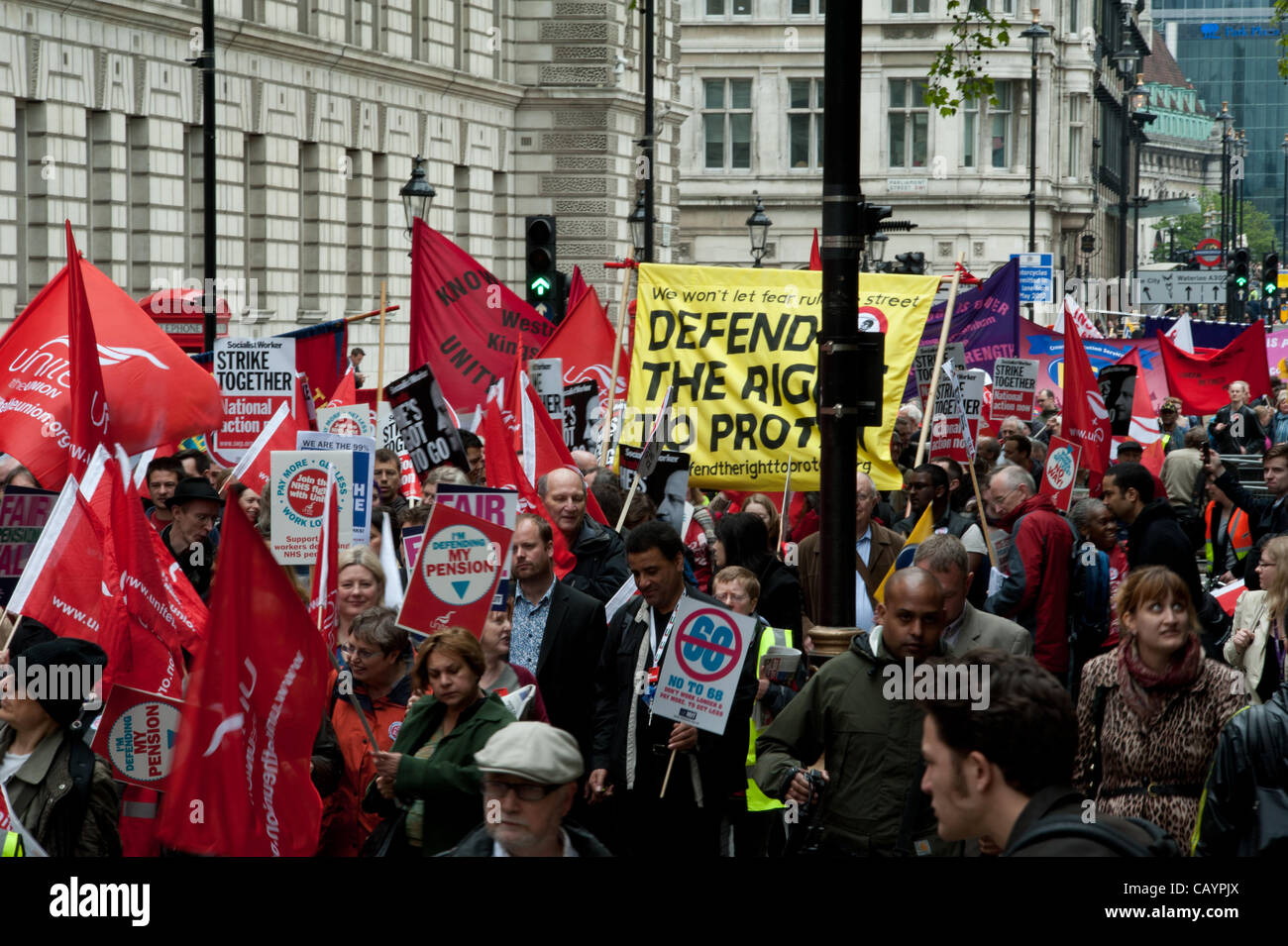 London, UK, 10th May 2012 - Public sector workers hold a march and rally in central London on public sector pensions - Stock Image