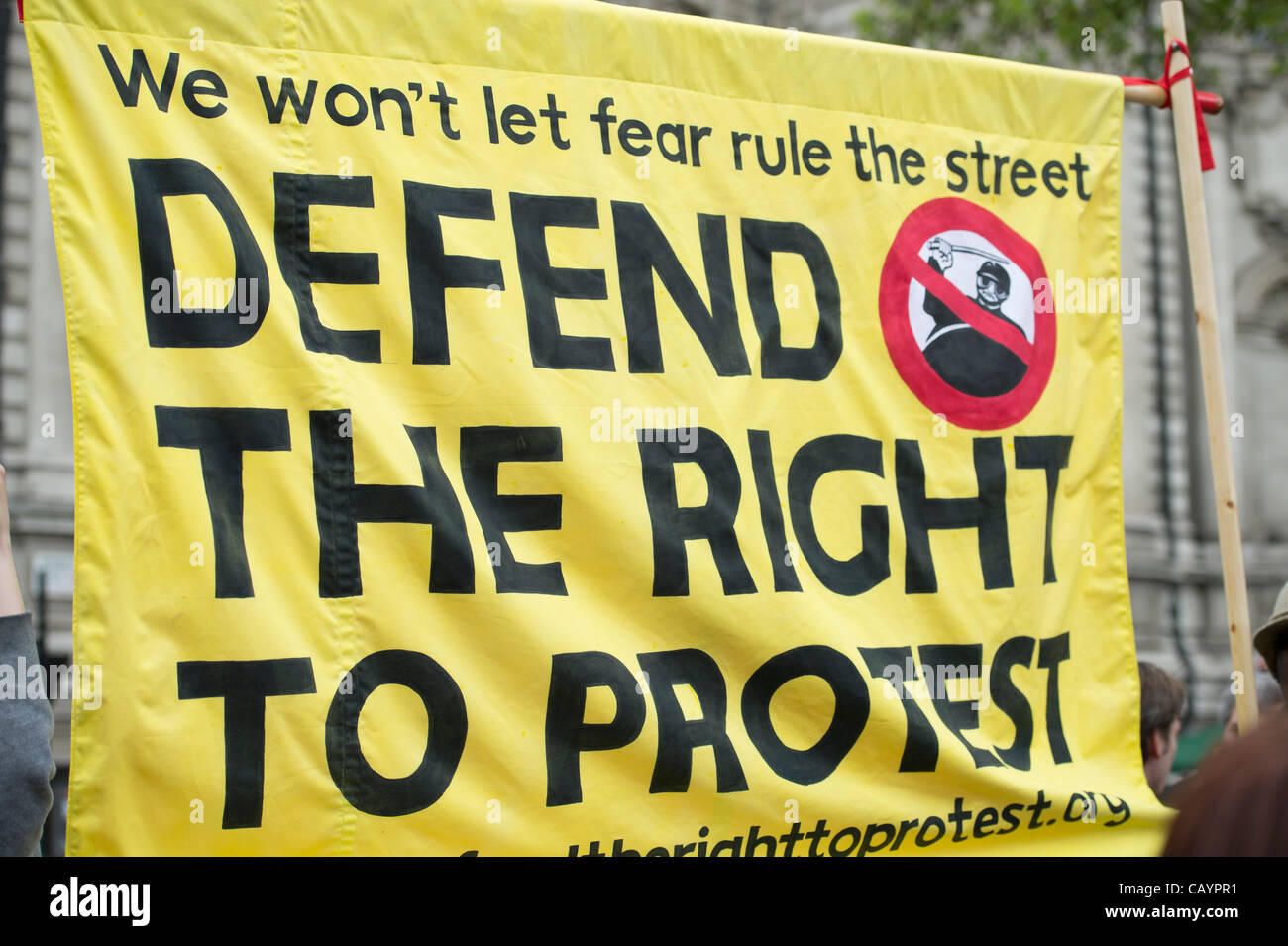 Banner proclaiming the right to protest being held in central London. - Stock Image