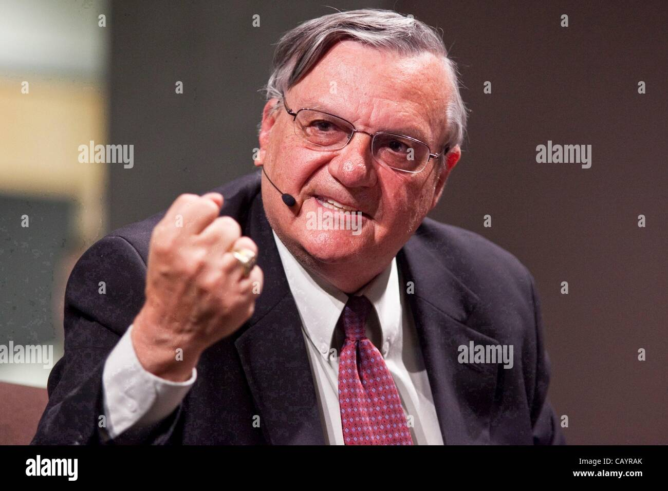 May 10, 2012 - The Department of Justice sued Maricopa County Sheriff Joe Arpaio and his Phoenix law enforcement - Stock Image