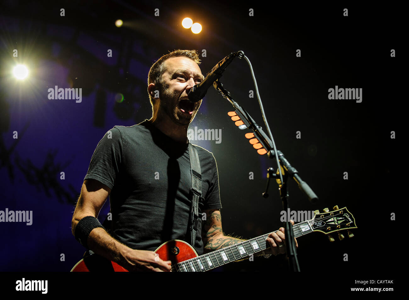 TORONTO, CANADA, 05/10/2012. American punk rock band Rise Against perform live At Air Canada Centre in Toronto during - Stock Image
