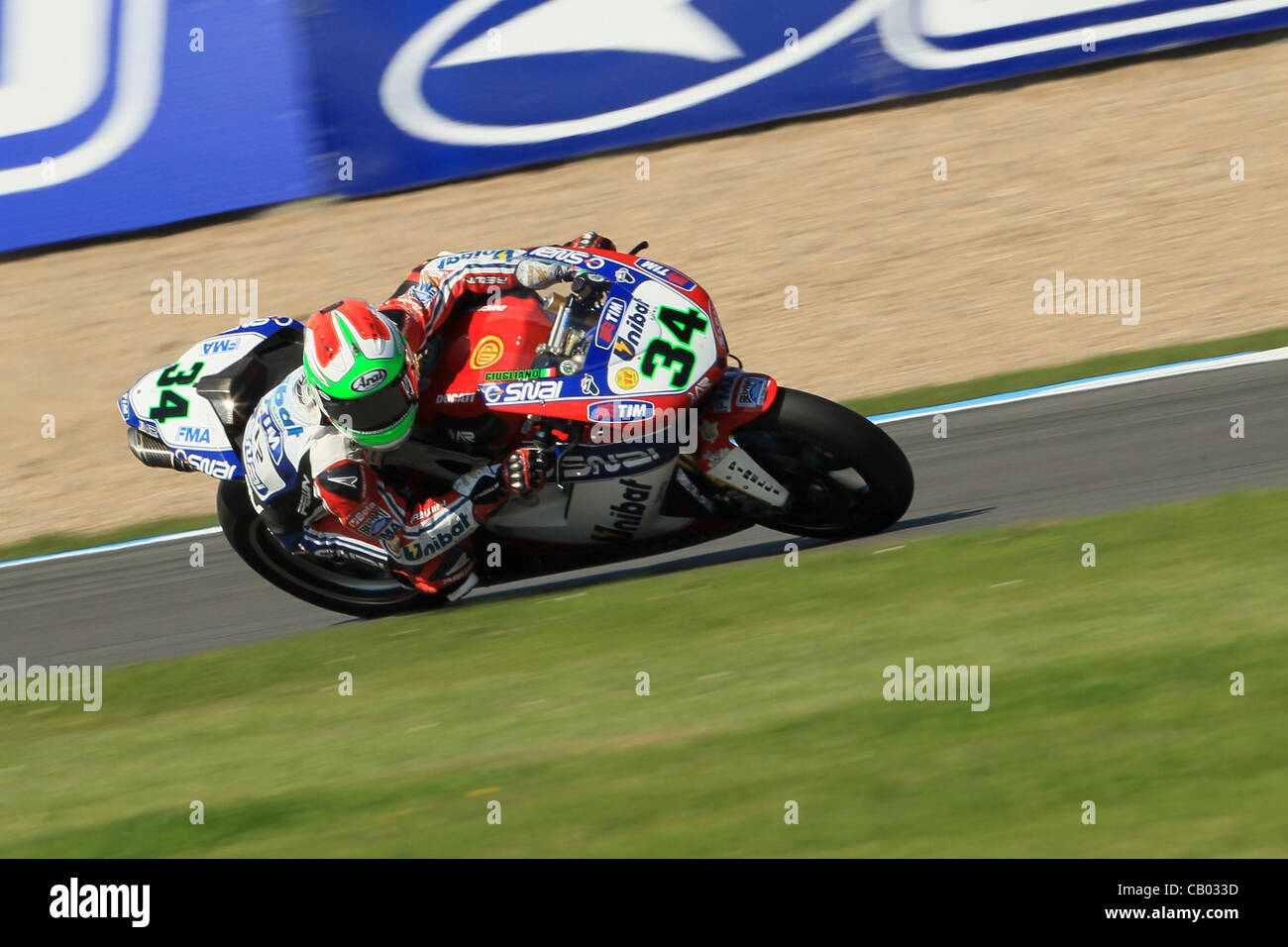 UK. 12.05.2012. Donington Park, England.  Davide Giugliano rides a Ducati 1098R for Althea Racing in the  World Stock Photo
