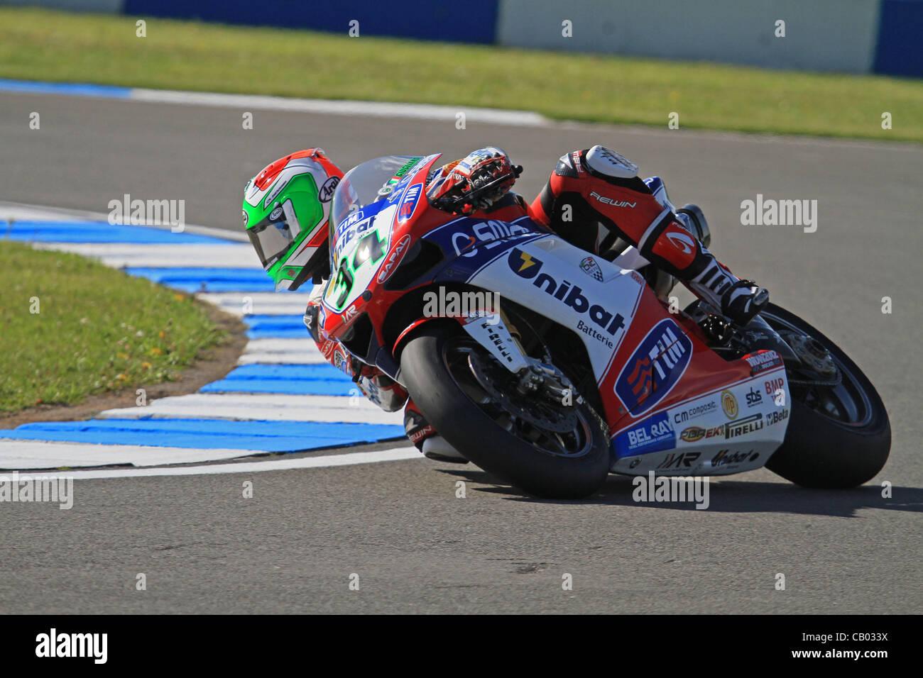 UK. 12.05.2012. Donington Park, England.  Davide Giugliano rides a Ducati 1098R for Althea Racing in the  World Stock Photo