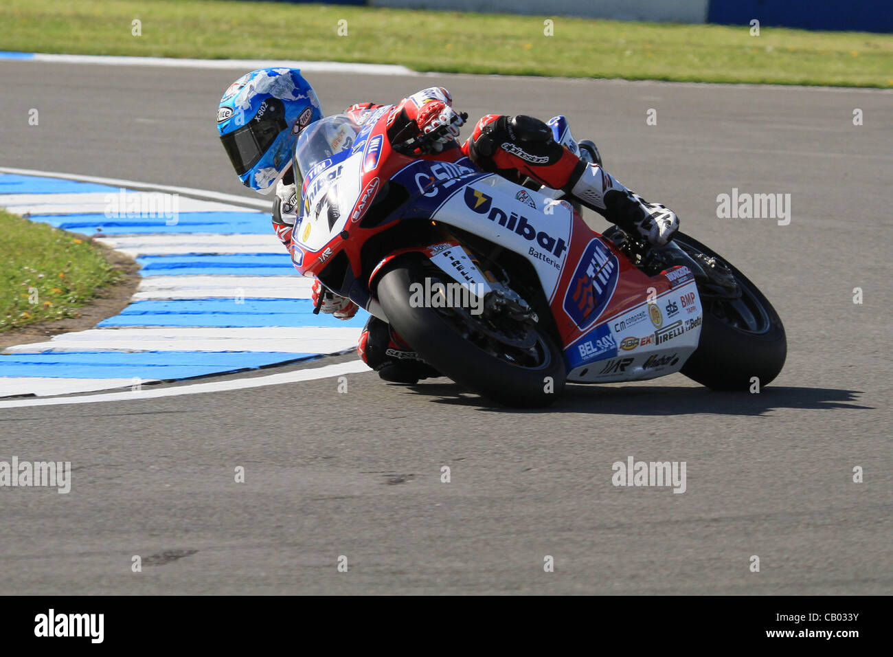 UK. 12.05.2012. Donington Park, England.  Carlos Chesca rides at Ductati 1098R for Althea Racing in the  World Superbike Stock Photo