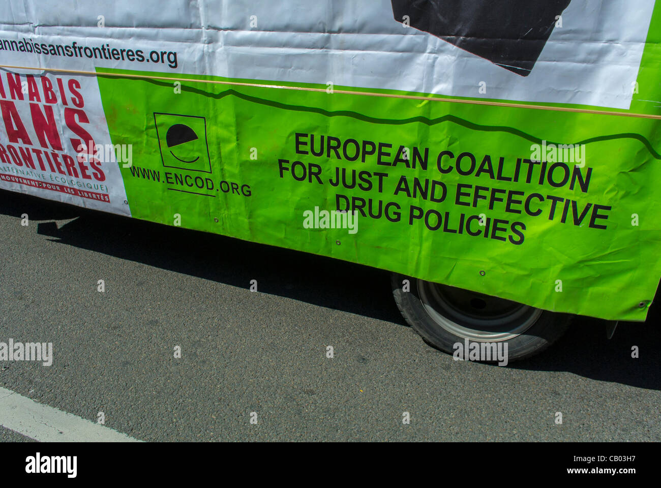 'European Coatition for Just and Effective Drug Policies' Signa on truck, at the World Cannabis March for - Stock Image