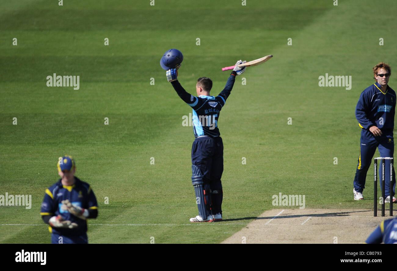 Sussex Sharks batsman Matt Machan celebrates reaching his century against Unicorns in their Clydesdale Bank 40 League - Stock Image