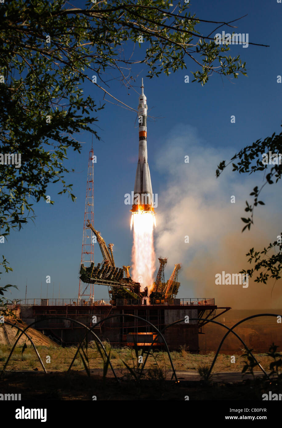 The Soyuz TMA-04M rocket launches from the Baikonur Cosmodrome carrying Expedition 31 to the International Space Stock Photo