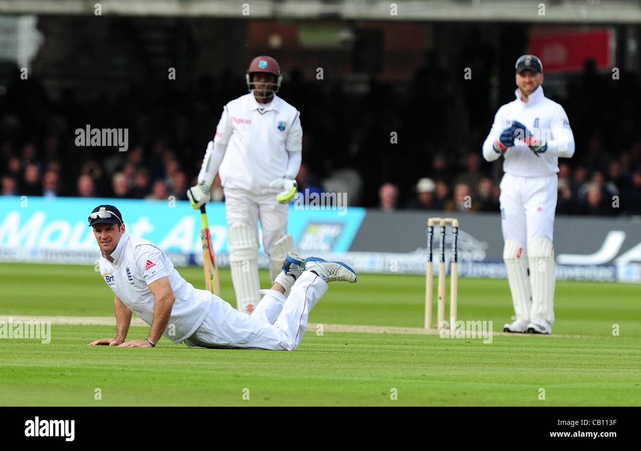 17.05.2012 London, England.  Andrew Strauss in action during the First Test between England and West Indies from Stock Photo