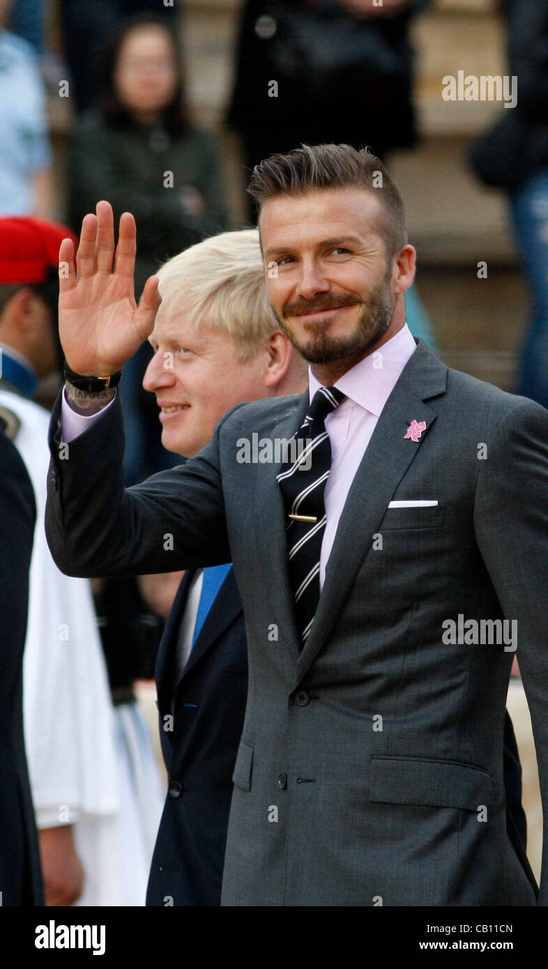 May 17, 2012 - Athens, Greece - British soccer star DAVID BECKAM attends the Olympic Flame handover ceremony at - Stock Image