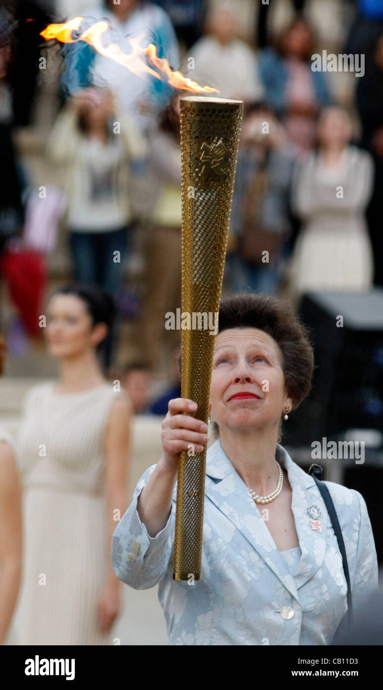 May 17, 2012 - Athens, Greece - Olympic Flame handover ceremony at the Panathenaic stadium. Greek officials giving - Stock Image