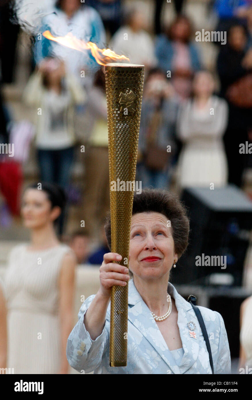 b765056ee450c May 17 2012 Athens Greece. PRINCESS ANNE, holds the torch with the Olympic  Flame