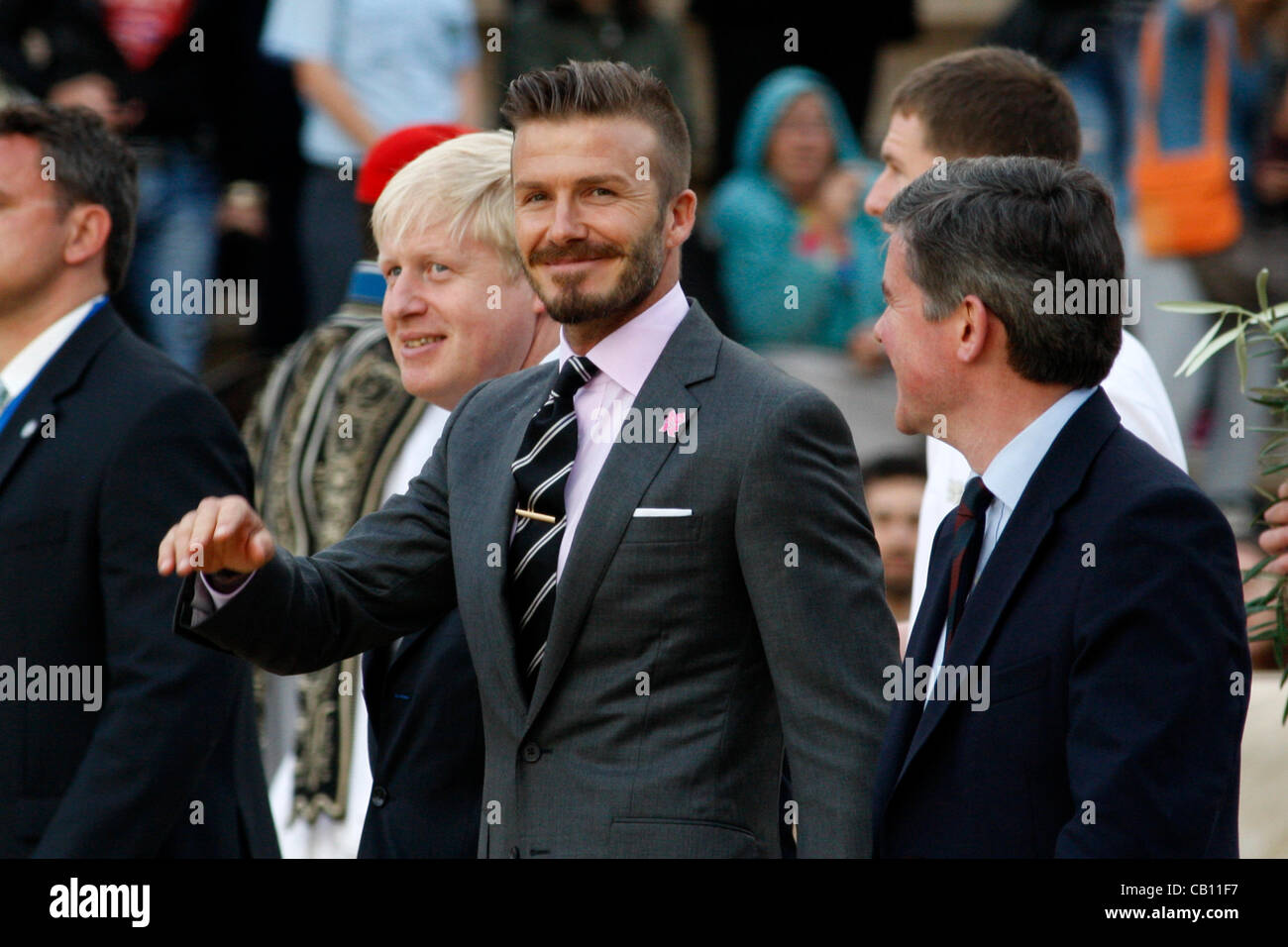 April 17, 2012 Athens Greece. British soccer star DAVID BECKHAM attends the Olympic Flame handover ceremony at the - Stock Image