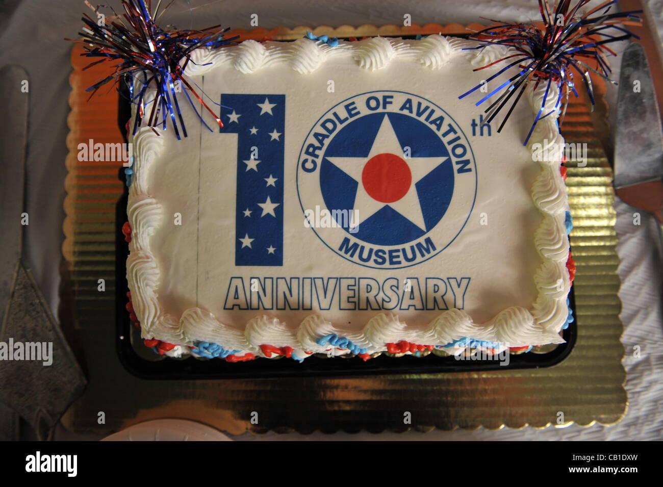 Cake celebrating 10th anniversary celebration of Cradle of Aviation Museum, on Saturday May 19, 2012, Long Island, - Stock Image