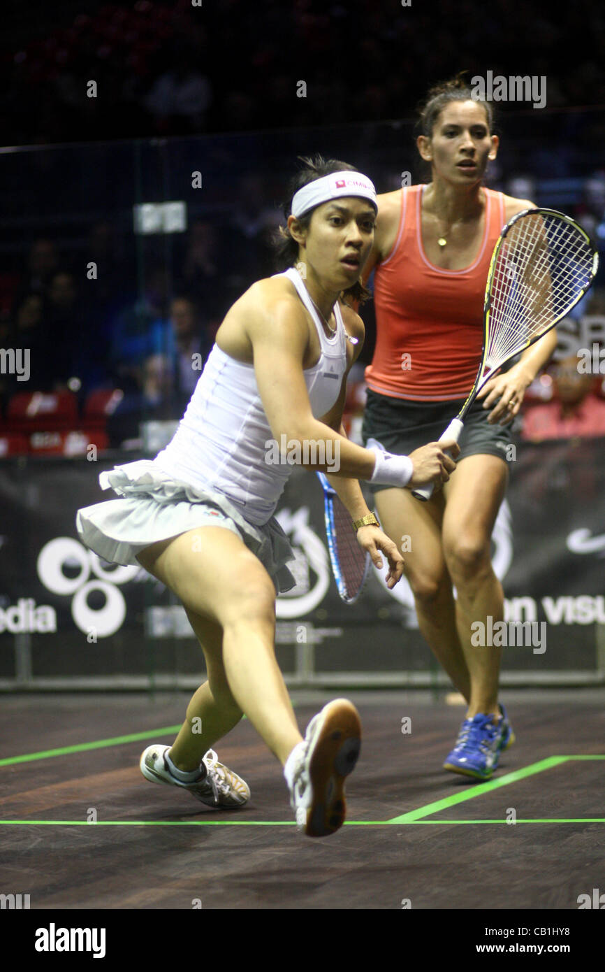 18.05.2012 The O2, London, England. Nicol David (MAS) in action against Joelle King (NZL) during their quarter-final - Stock Image