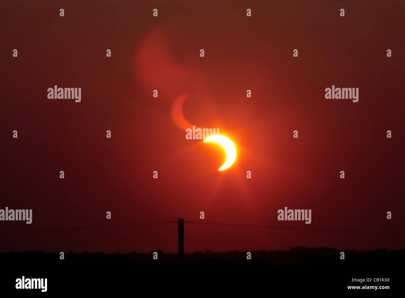 2012 annular solar eclipse, partial due to latitude, on 20 May, 2012. The eclipse occurred only a few minutes before - Stock Image