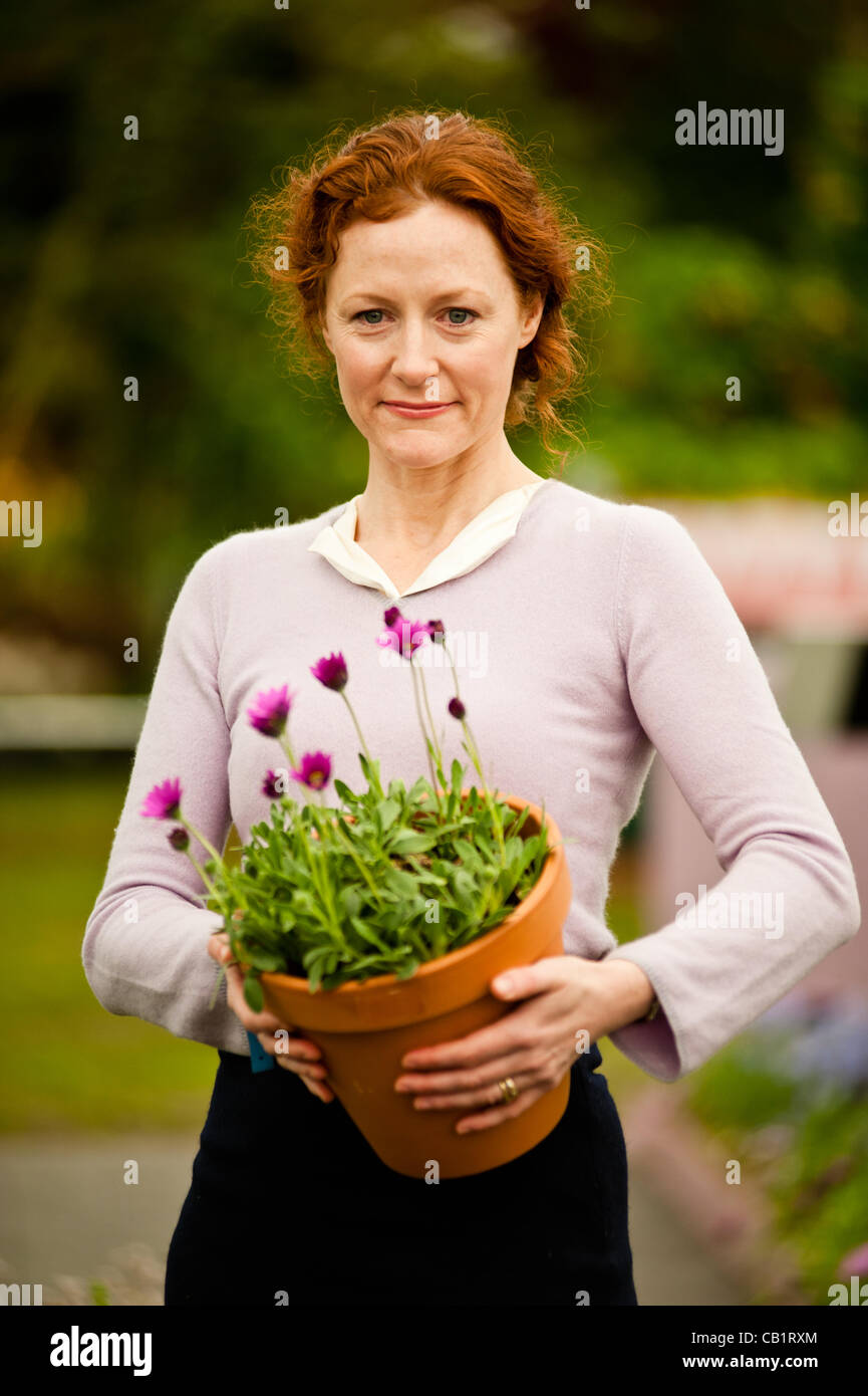 LONDON, UK - 21 May 2012: actress Geraldine Somerville launches new plant Osteospermum 'In the Pink' at 'Hardy's Stock Photo