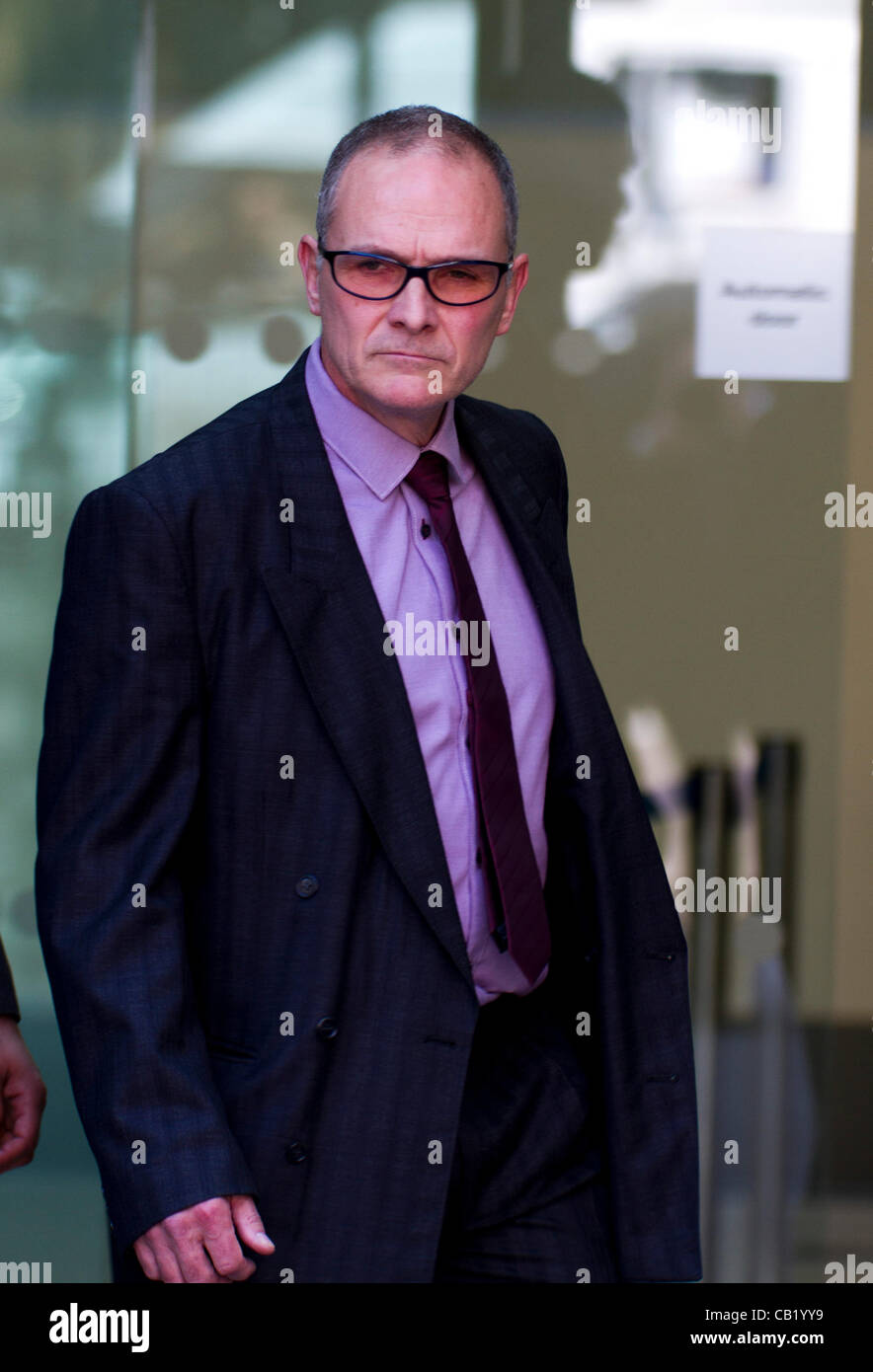 London, UK. 22nd May 2012. PC Alex MacFarlane leaves Westminster Magistrates Court, London. PC Alex MacFarlane allegedly - Stock Image