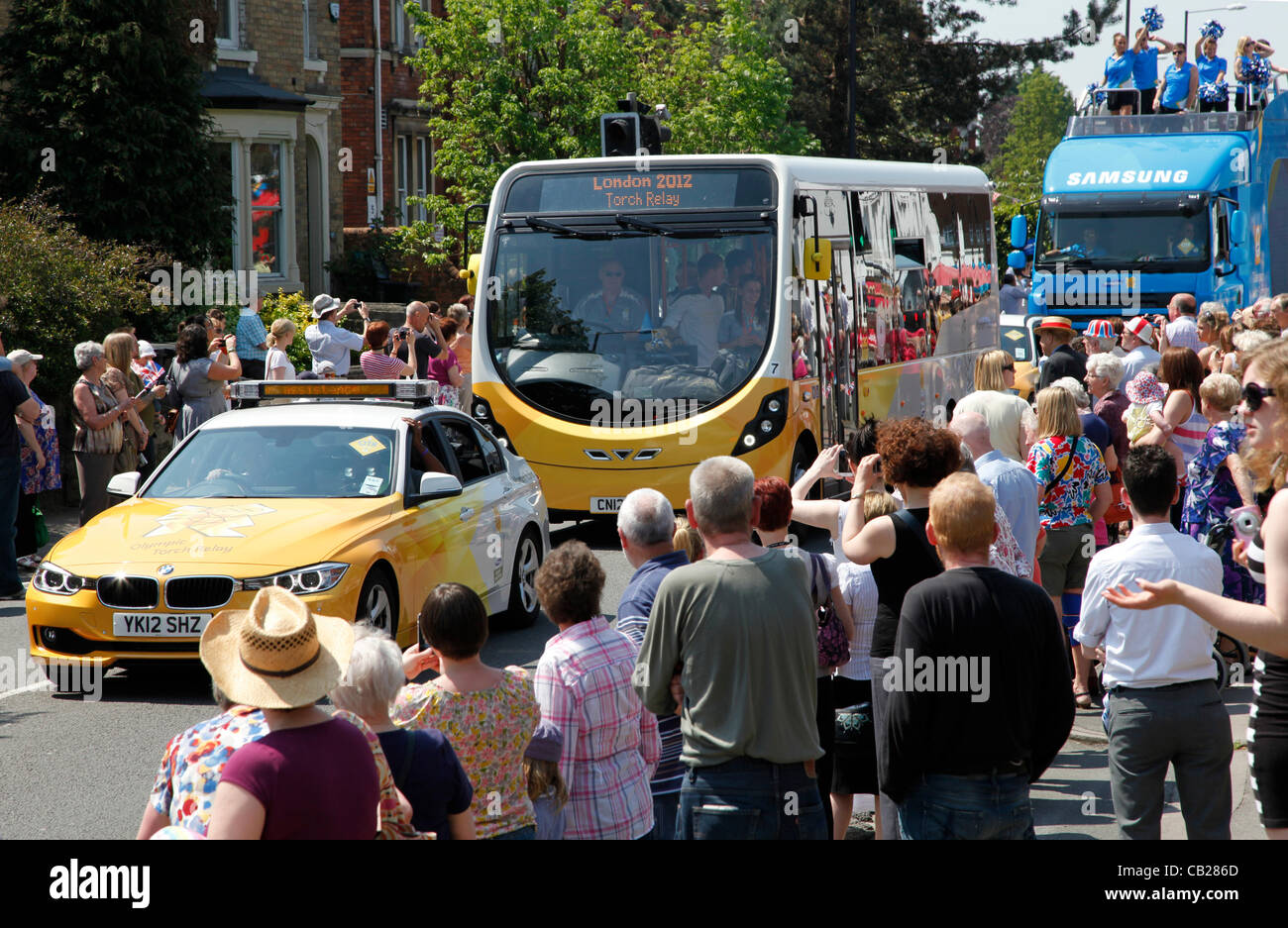 Wednesday, May 23rd 2012.  Swindon, Wiltshire, England, UK. Sponsors' coaches signal the imminent arrival of - Stock Image