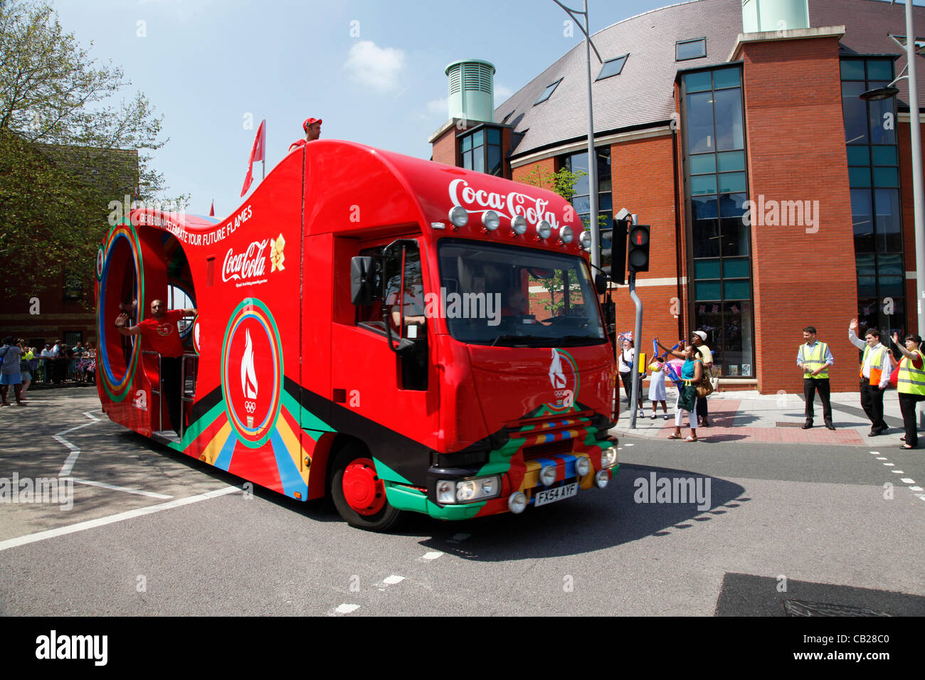 Wednesday, May 23rd 2012.  Swindon, Wiltshire, England, UK. The Coca-Cola coach signals the imminent arrival of - Stock Image