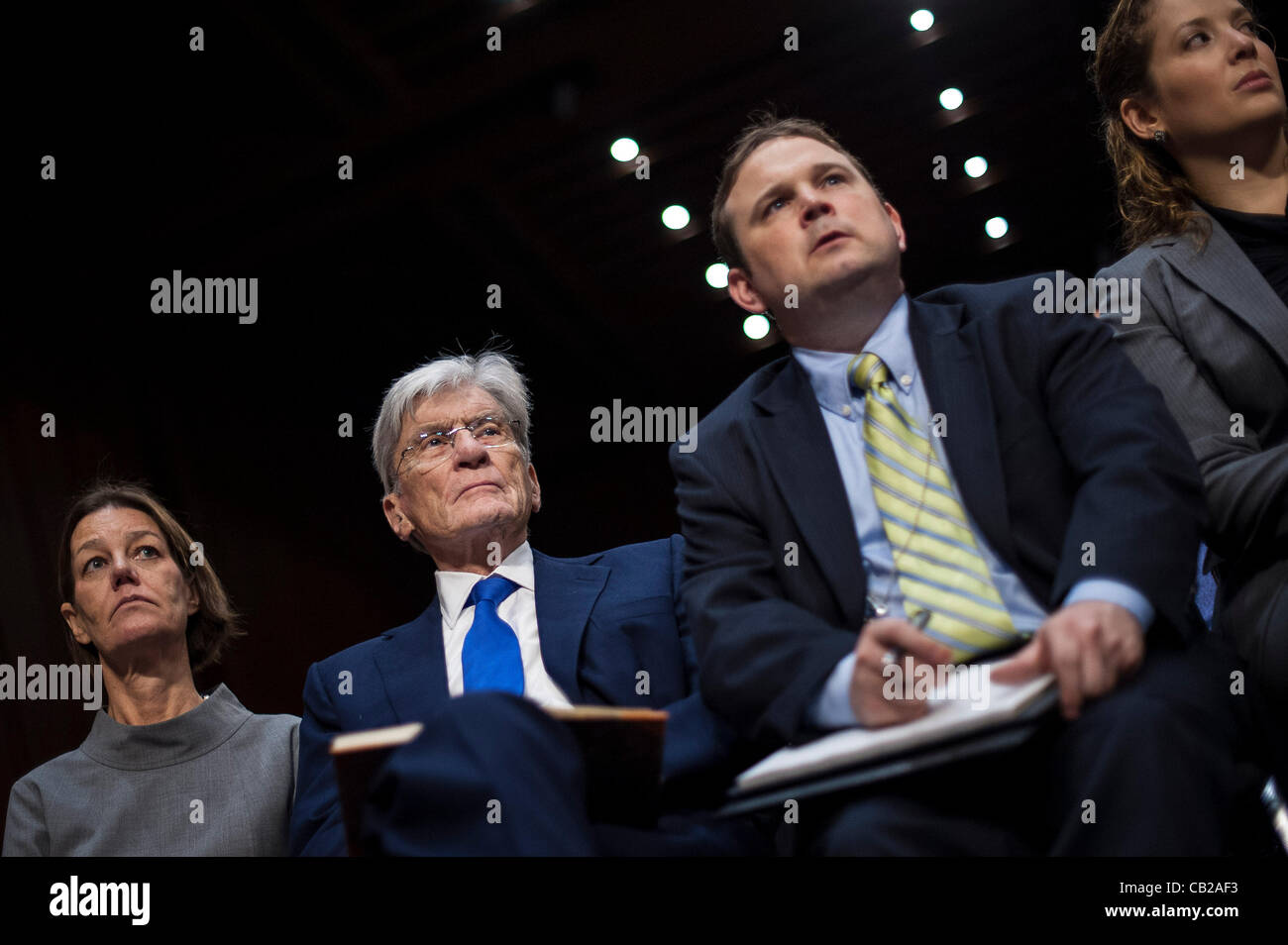 May 23, 2012 - Washington, District of Columbia, U.S. - Former Senator John Warner (R-VA) was in the audience as - Stock Image