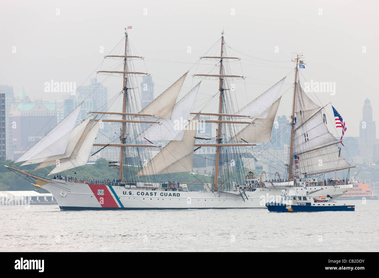 US Coast Guard Barque Eagle participates in the Parade of Sail on the Hudson River in New York City, USA on Wednesday, - Stock Image