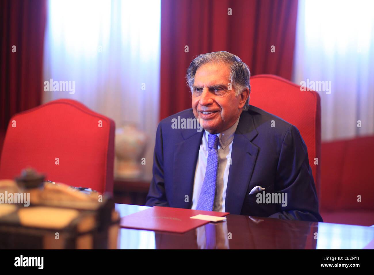 May16,2012 - Mumbai, India :   Portrait of Indian industrialist Rata Tata, chairman of the Tata empire at the Bombay Stock Photo