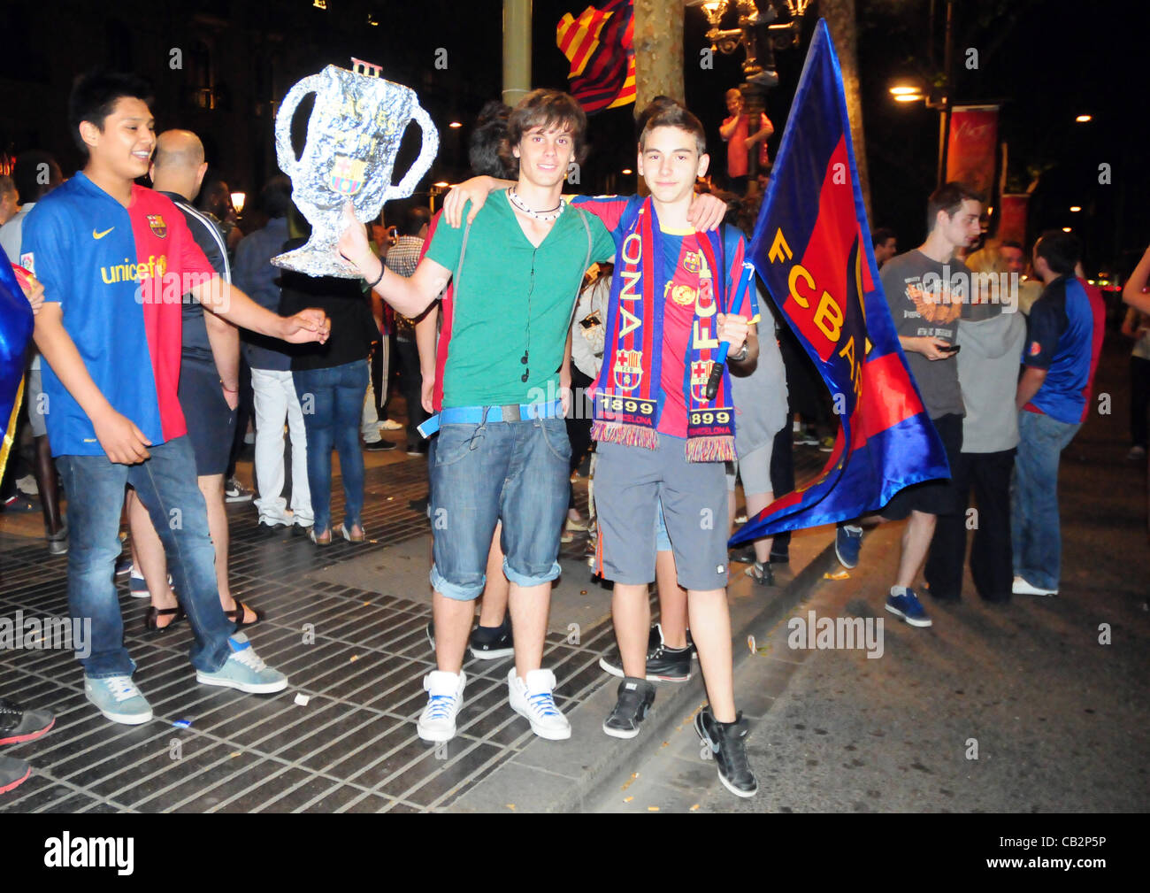 Barcelona, Spain . May 25th, 2012 - FC Barcelona's Fan celebrate the victory of the Copa del Rey at their festivities' - Stock Image