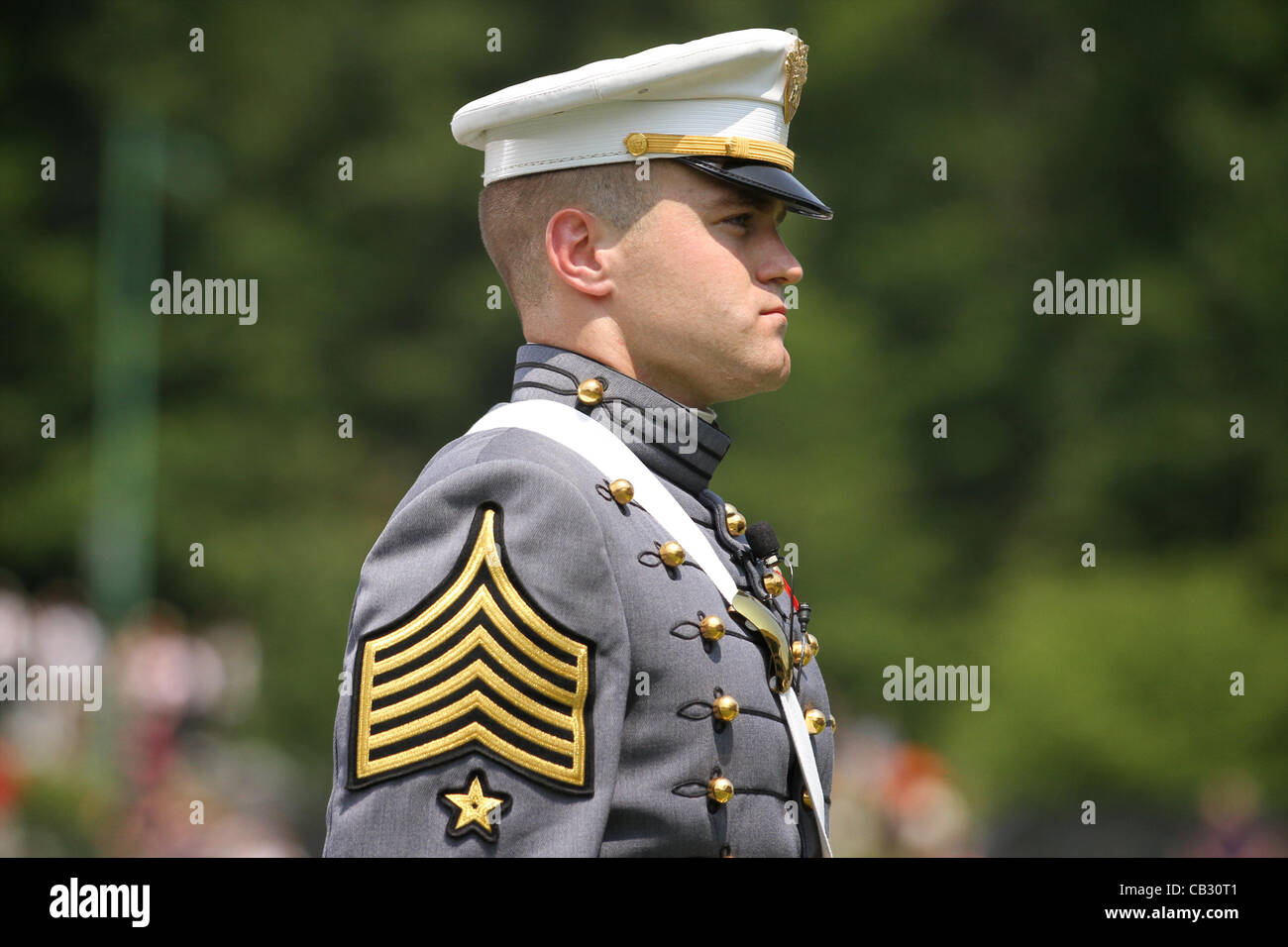 A graduating cadet from the US Military Academy class of 2012 stands during ceremonies May 26, 2012 in West Point, - Stock Image