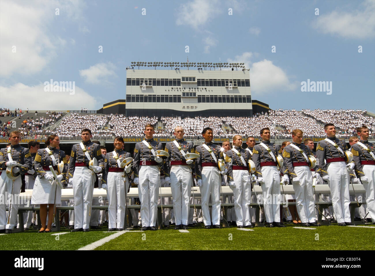 Graduating cadets from the US Military Academy class of 2012 stand at attention during ceremonies May 26, 2012 in - Stock Image