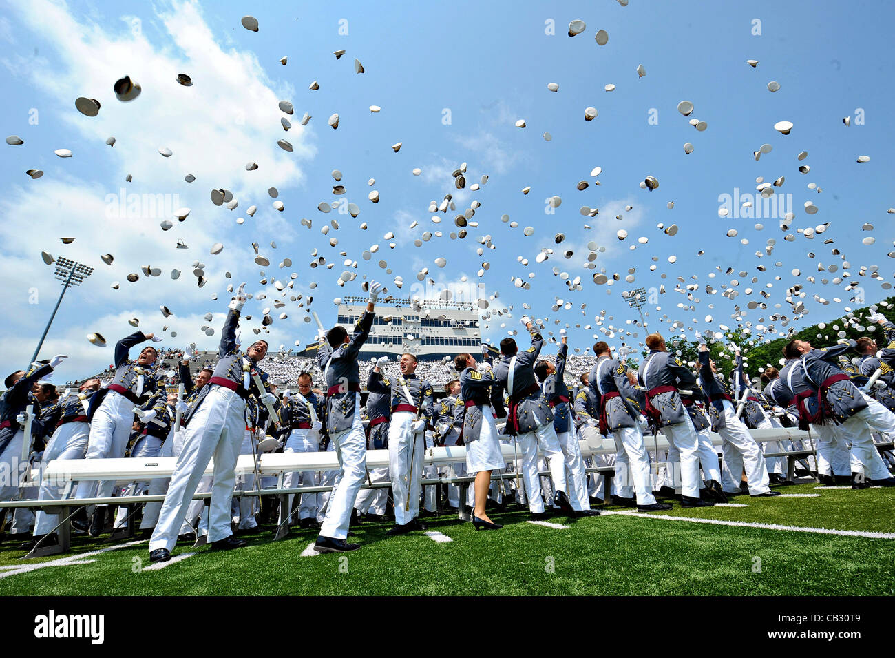US Army Cadets toss their hats at the end of graduation ceremonies for  Class of 2012 d6493742ee2d