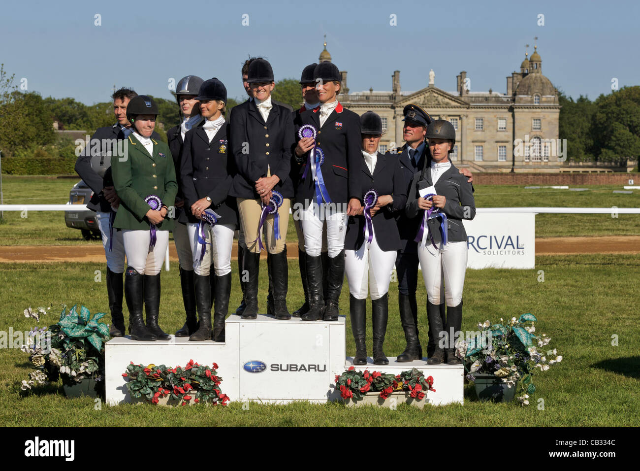 The podium presentation for the CCIO 3 star nations cup at the 2012 Subaru Houghton International Horse trials,in - Stock Image