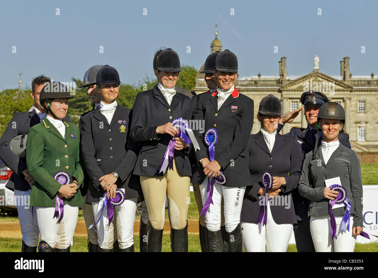 The podium presentation for the CCIO 3 star nations cup at the 2012 Subaru Houghton International Horse trials in - Stock Image