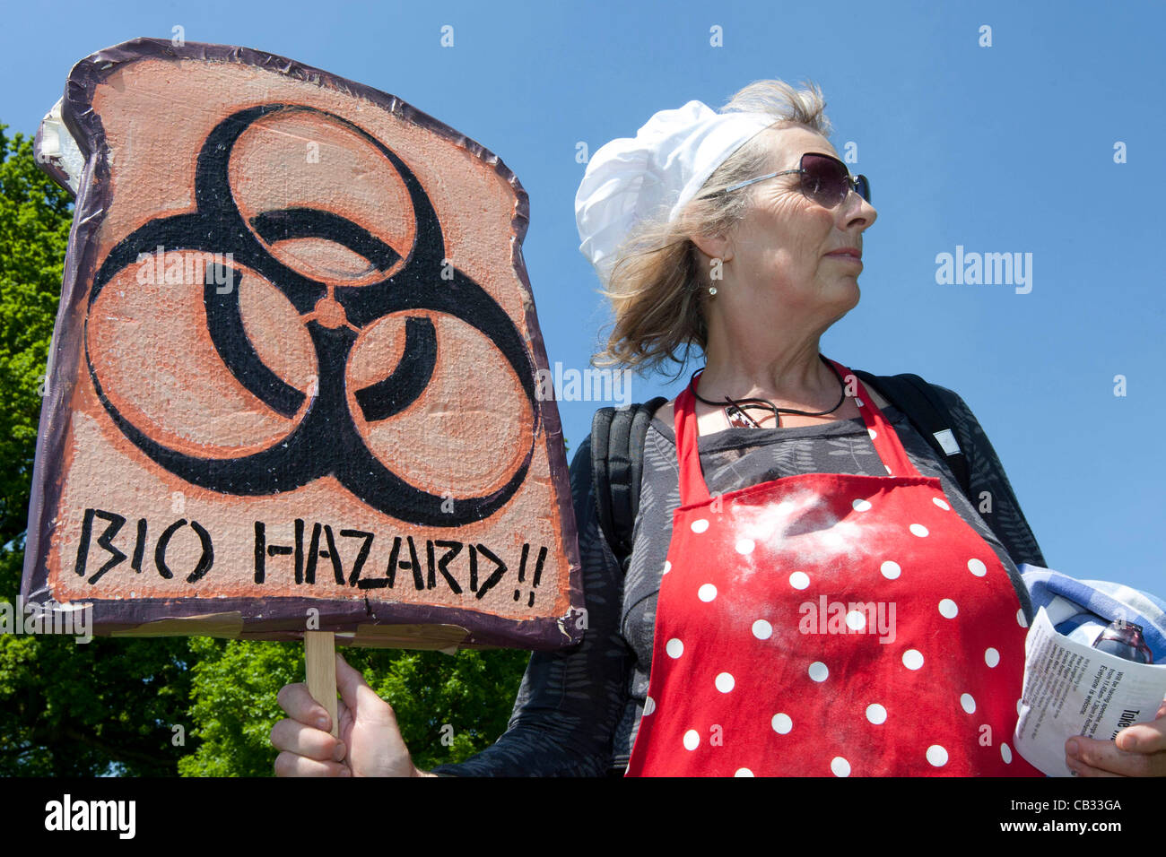 Rothamstead,Harpenden,Hertfordshire,England: Activists from the anti GM  action group Take The Flour Back protest - Stock Image