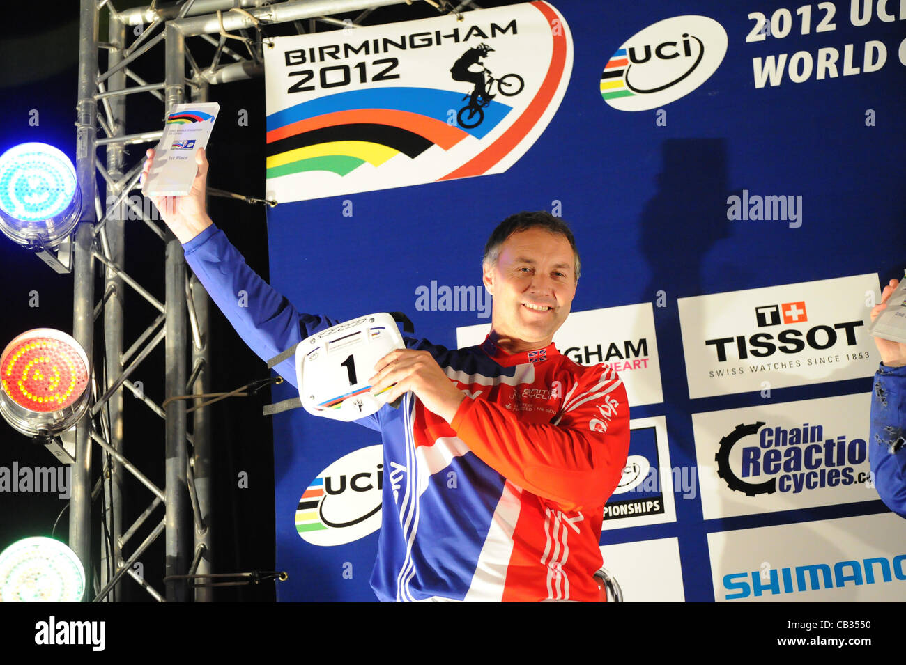 05.27.2012. England, Birmingham, National Indoor Arena. UCI BMX World Championships. Podium trio for the Cruisers - Stock Image