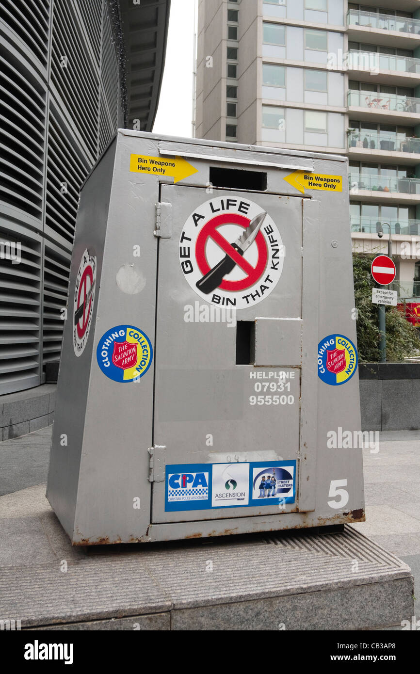 A knife bin, for depositing blades and knives, sits in place in Victoria, Westminster, London Stock Photo