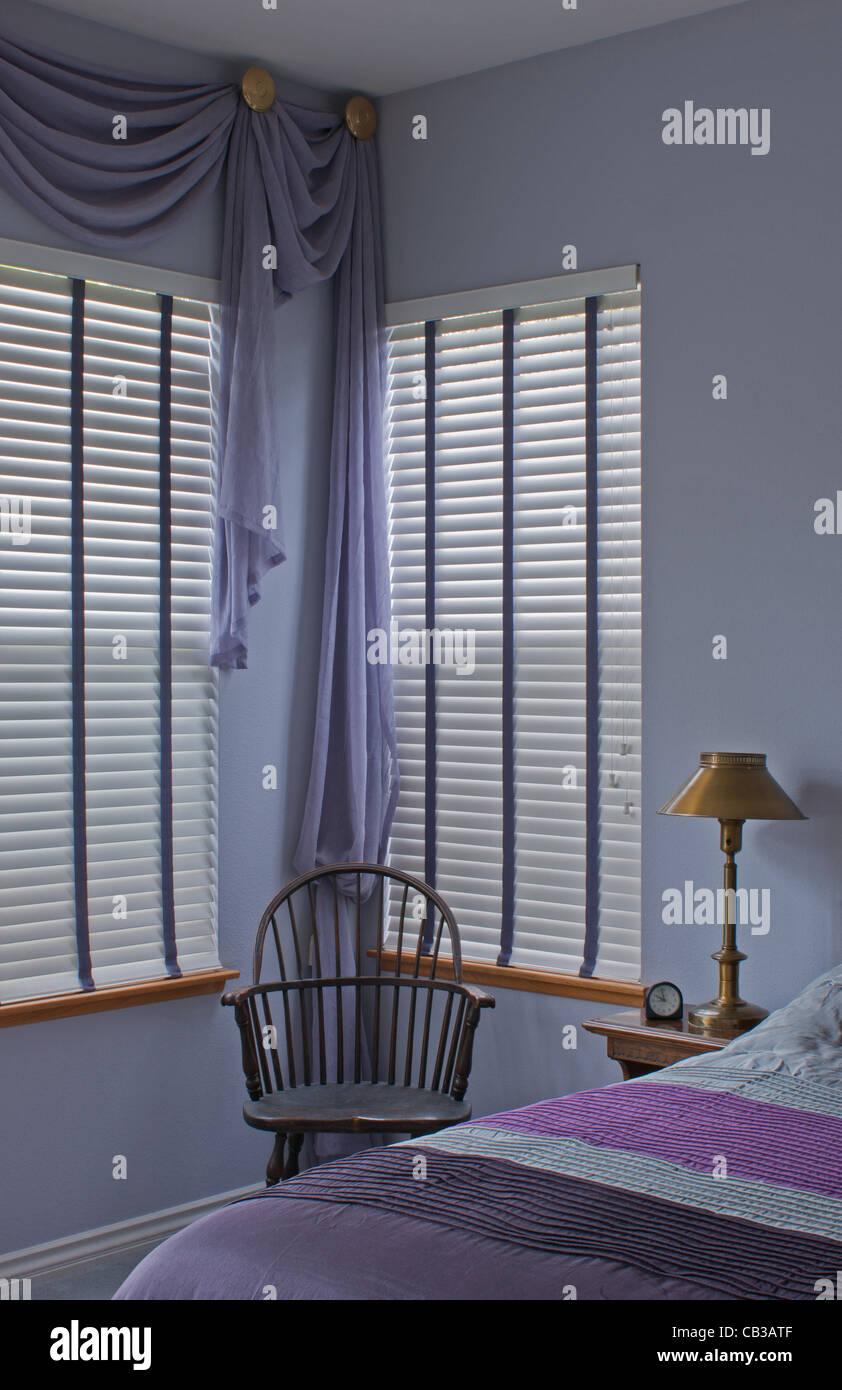 Purple Plum Bedroom Home Interior Window Treatment Blinds And Stock Photo Alamy