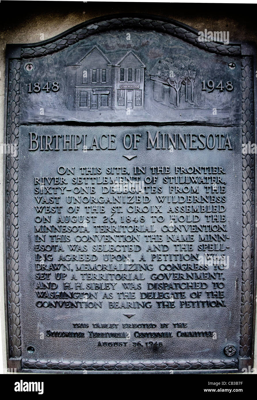 Plaque commemorating the town of Stillwater as the oldest town (1848) in Minnesota. - Stock Image