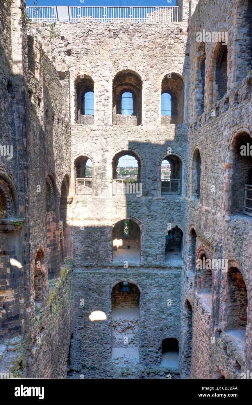 england rochester castle interior of the norman keep ruin with floors and roof gone arches and doorways hdr normal