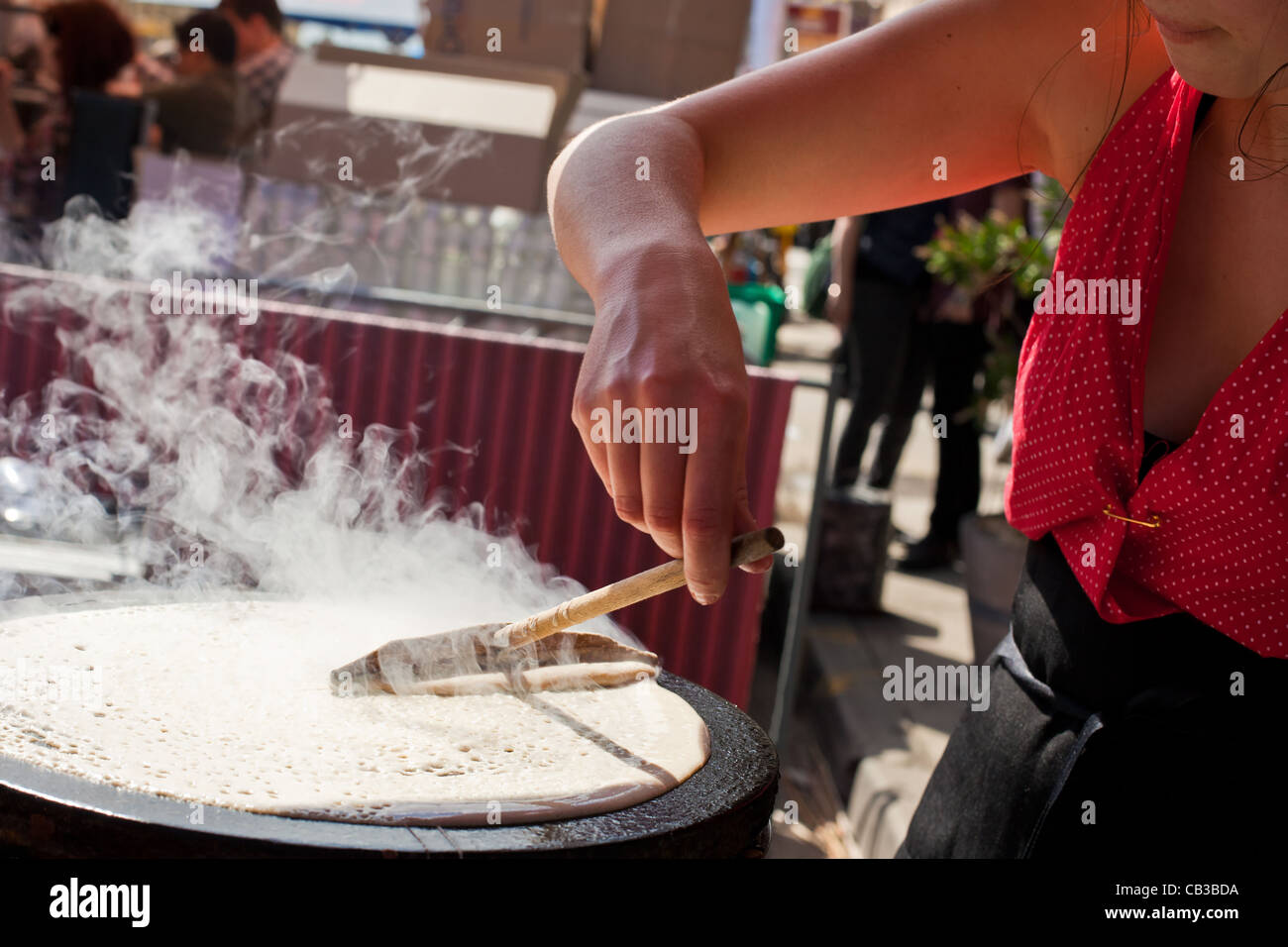 High Noon community festival is a Northcote local music fest in Melbourne, Australia crepe from street stall Stock Photo