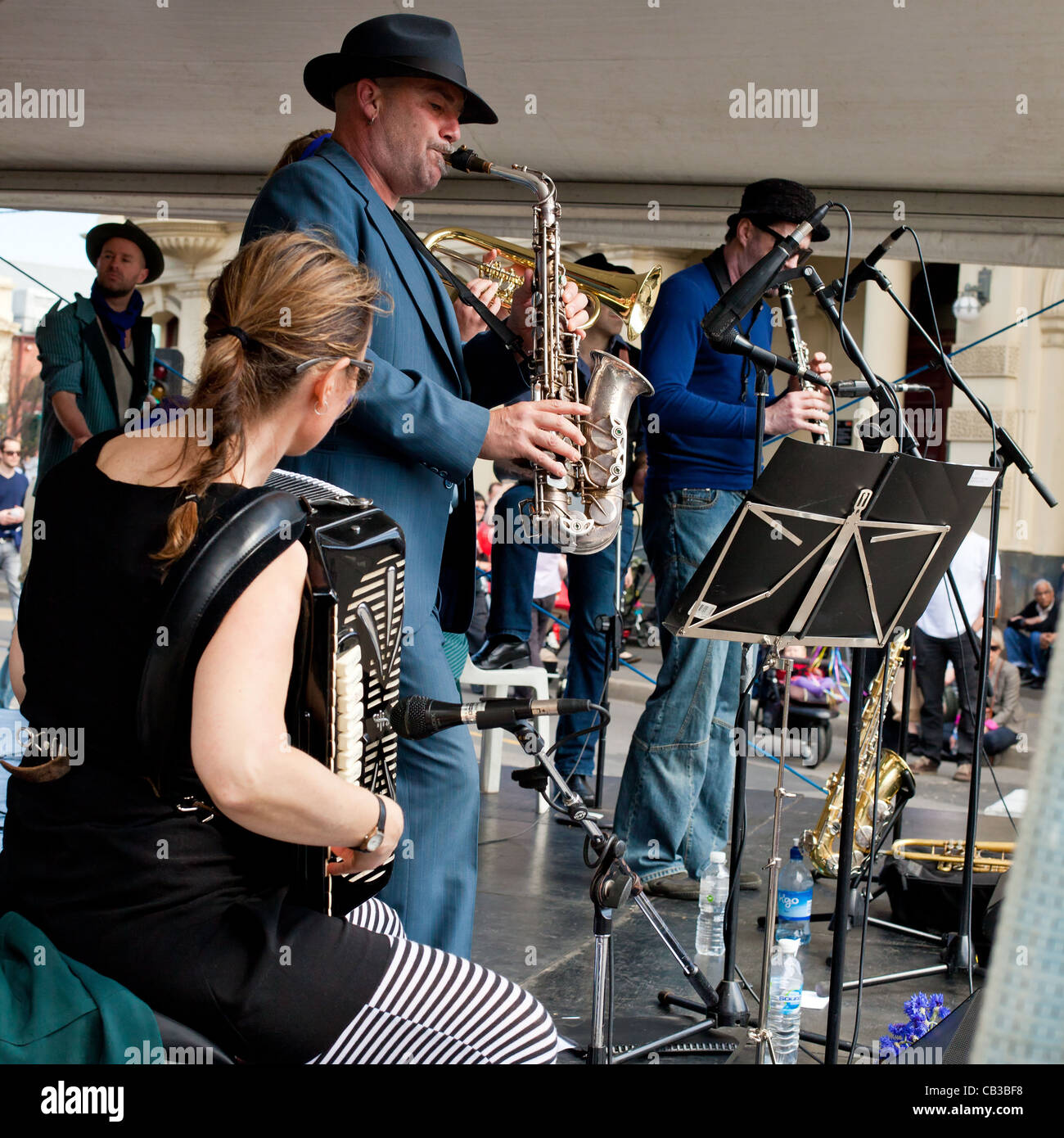 High Noon community festival is a Northcote local music fest in Melbourne, Australia band playing on stage Stock Photo