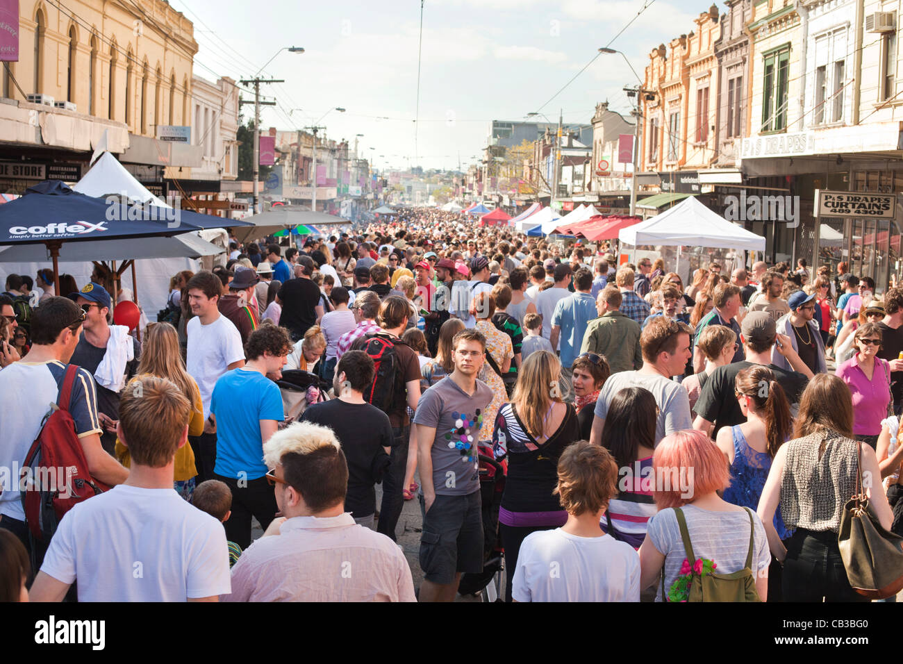 High Noon community festival is a Northcote local music fest in Melbourne, Australia crowded streets at the festival. Stock Photo