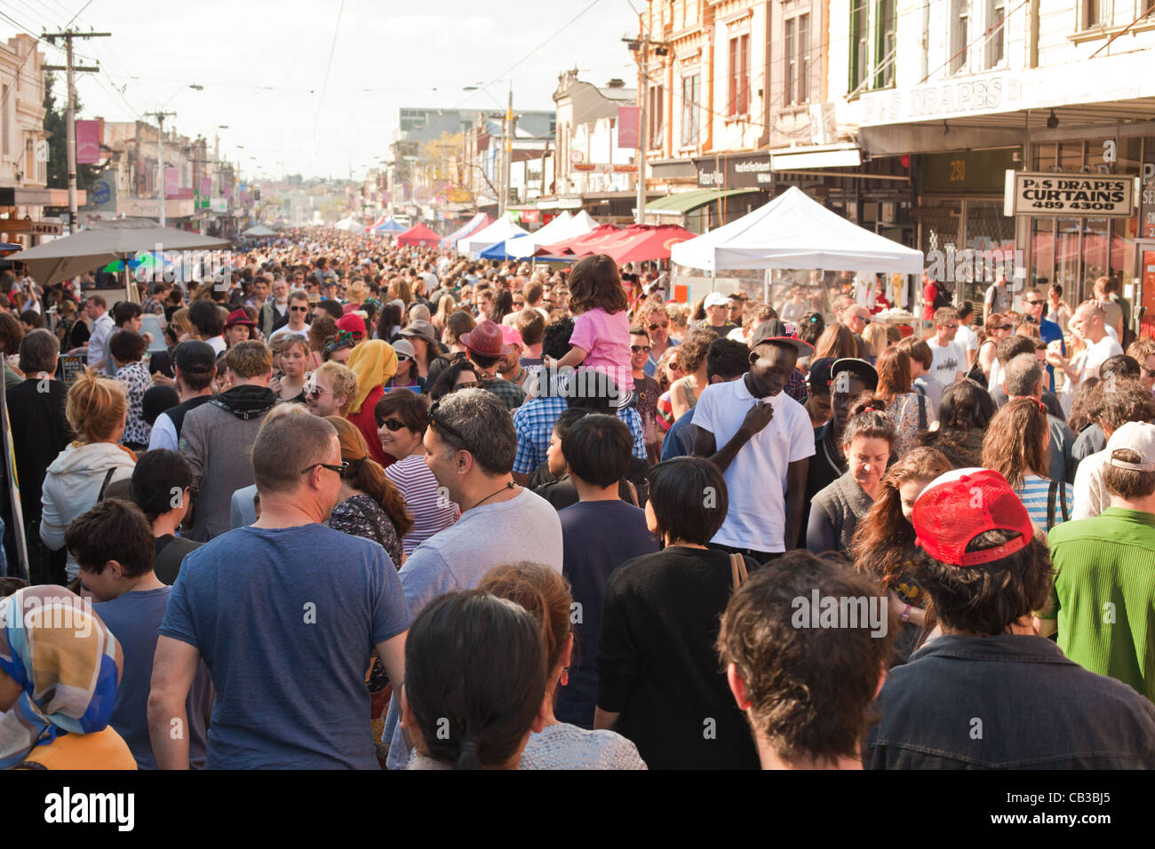 High Noon community festival is a Northcote local music fest in Melbourne, Australia crowded street Stock Photo
