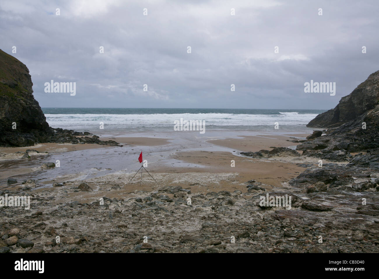 Beach at Chapel Porth, red flagged. Stock Photo