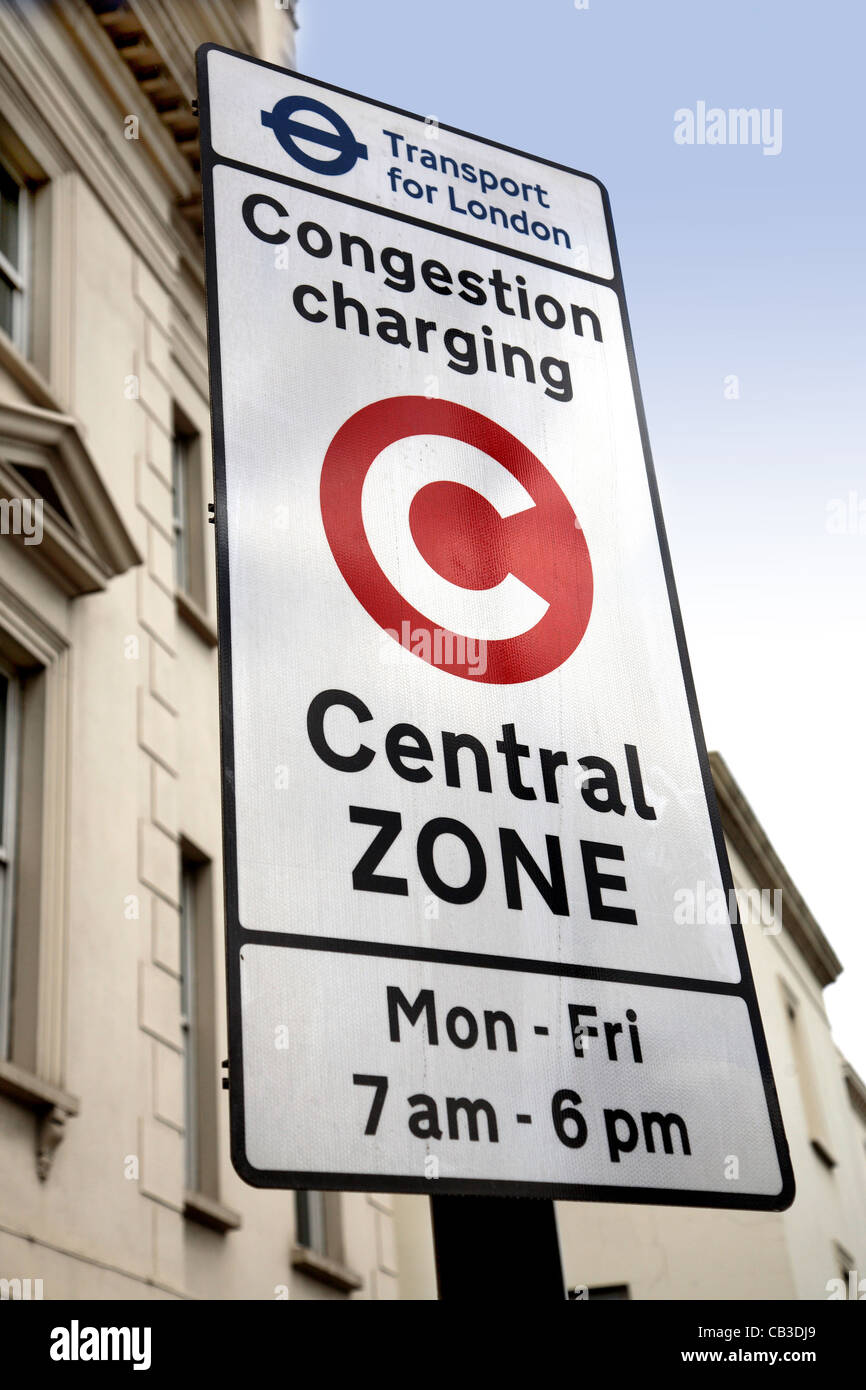 Street sign showing road users they are entering the London Congestion Charge zone - Stock Image