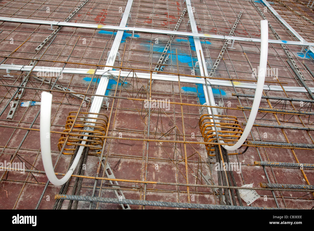 Post-tensioning steel cables in concrete floor formwork