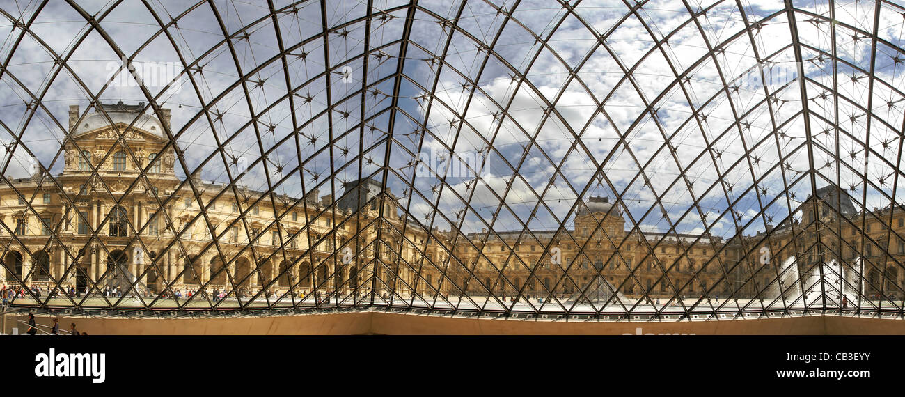 Panoramic view on famous Louvre museum from inside of glass pyramid ...