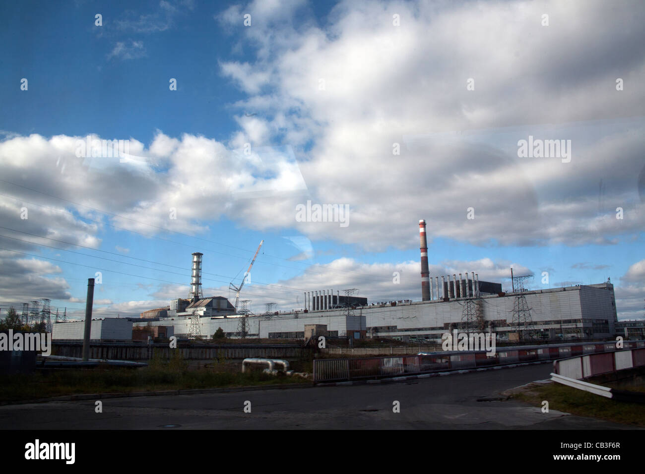 Reactor Number 4 at Chernobyl, encased in its old sarcophagus seen from the side, Ukraine - Stock Image