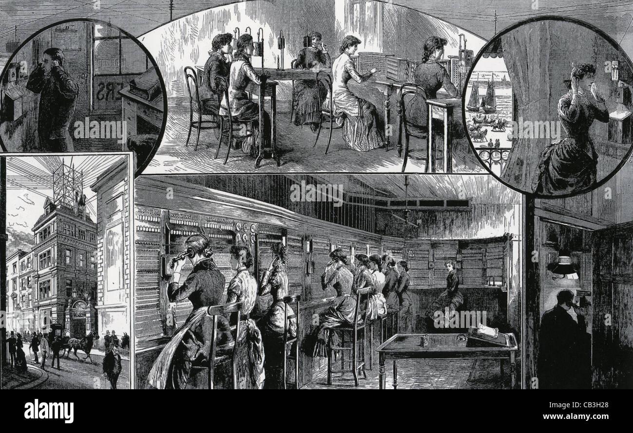 LONDON TELEPHONE EXCHANGE in 1883 - Stock Image