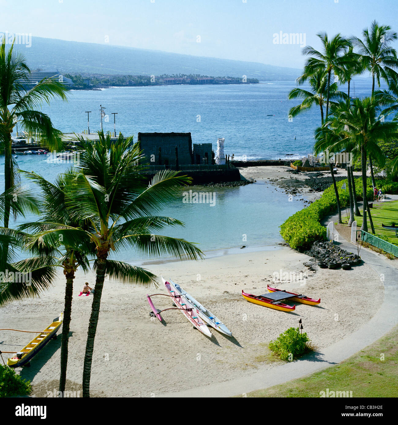 Big Island Beaches: Kamakahonu Beach Kailua-Kona Big Island Hawaii Stock Photo